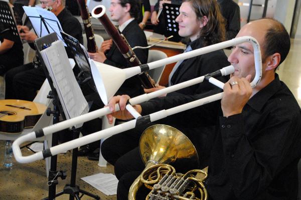 Trombone made from plastic tubing