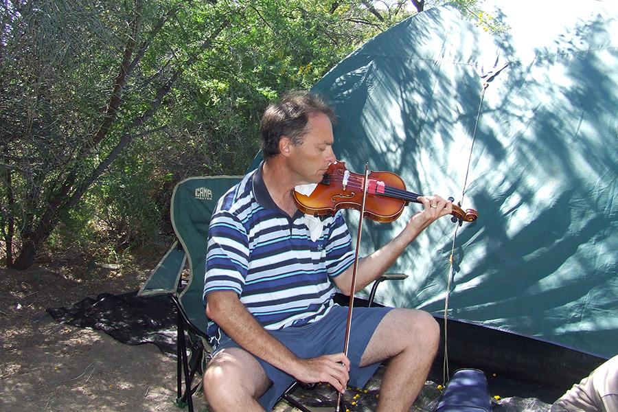 Piet Koornhof practising everywhere