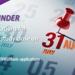 Applications for music study close on 31 August 2020.
